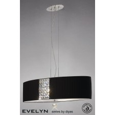 Diyas Evelyn Pendant 4 Light Polished Chrome/Crystal With Black Shade