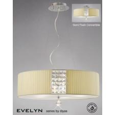Diyas Evelyn Pendant 5 Light Polished Chrome/Crystal With Cream Shade