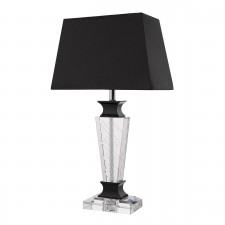 Ezra Table Lamp Crystal And Black complete with Black Shade