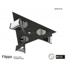 Filippo Spot Light 3 Light Round LED 15W Black/Chrome 3000K