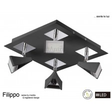 Filippo Spot Light 4 Light Square LED 20W Black/Chrome 3000K