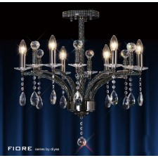Diyas Fiore Pendant 6 Light Black Chrome