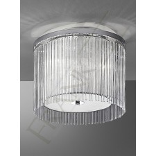 Franklite Eros Flush Fitting (400mm) - 3 Light, Chrome, Glass