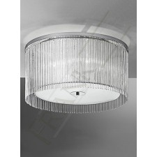 Franklite Eros Flush Fitting (600mm) - 4 Light, Chrome, Glass