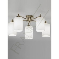 Franklite Decima Semi Flush Fitting (Down) - Bronze, 5 Light, Complete with Matt Opal Glass