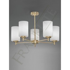 Franklit e Decima Semi Flush Fitting - 5 Light, Satin Brass, Complete with Shades