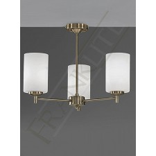 Franklite Decima Semi Flush Ceiling Light - 3 Light, Bronze, With Glasses