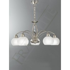 Franklite Thea Ceiling Light - 5 Light, Satin Nickel, Complete with Shades