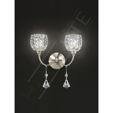 Franklite Sherrie Double Wall Light - Satin Nickel, Complete with Glass Shades