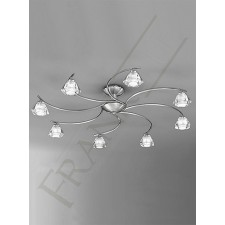 Franklite Twista Semi Flush Ceiling Light - 8 Light, Satin Nickel