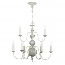 Flemish 9 Light Pendant Distressed Cream