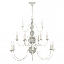 Flemish 15 Light Pendant Distressed Cream