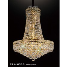 Diyas Frances Pendant 14 Light French Gold/Crystal