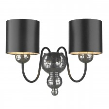 Garbo Wall Light Pewter - Black and Silver Shade