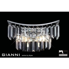 Diyas Gianni Wall Lamp 2 Light Polished Chrome/Crystal Switched
