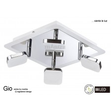 Gio Spot Light 4 Light Square LED 20W Chrome/White/Chrome 3000K
