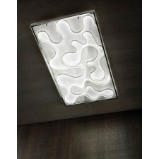 Happy LED Flush Ceiling Light - 48W, With White Glass, Polished Chrome