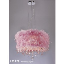 Diyas Ibis Pendant 3 Light Polished Chrome/Crystal With Pink Feather Shade