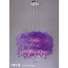 Diyas Ibis Pendant 3 Light Polished Chrome/Crystal With Purple Feather Shade