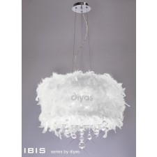 Diyas Ibis Pendant 3 Light Polished Chrome/Crystal With White Feather Shade