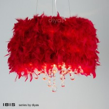 Diyas Ibis Pendant 3 Light Polished Chrome/Crystal With Red Feather Shade