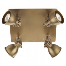 Idaho 4 Light Plate Spot GU10 Antique Brass