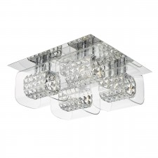 Kabuki 4 Light Square Flush Polished Chrome With Crystal And Glass