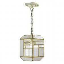 Kawana 1 Light Pendant Gold With Textured Glass Panels