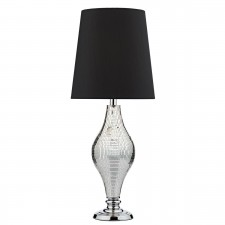 Kelly Table Lamp Silver Mirror Mosaic - complete with Black Shade