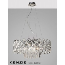 Diyas Kenzie Pendant 16 Light Polished Chrome/Crystal