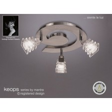 Keops Ceiling Spot Light 3 Round Satin Nickel With Adjustable Heads