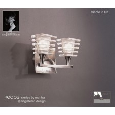 Keops Switched Wall Lamp 2 Lights Satin Nickel