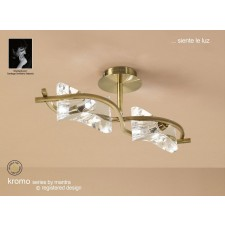 Kromo Semi Ceiling 2 Light Antique Brass