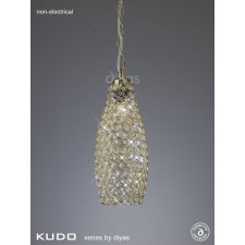Diyas Kudo Crystal Drum Shade French Gold Non-Electric