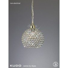 Diyas Kudo Crystal Ball Shade Antique Brass Non-Electric