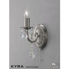 Diyas Kyra Wall Lamp 1 Light Satin Nickel/Crystal Switched