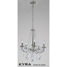 Diyas Kyra Pendant 5 Light Satin Nickel/Crystal