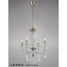 Diyas Leana Pendant 4 Light Satin Nickel/Crystal