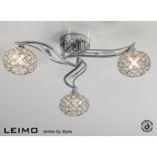 Diyas Leimo Ceiling 3 Light Polished Chrome/Crystal
