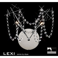Diyas Lexi Wall Lamp 2 Light Polished Chrome/Crystal Switched