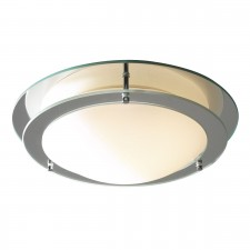 Libra Flush IP44 Bathroom Ceiling Light - Mirror, Opal Glass