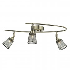 Lowell 3 Light Semi Flush Antique Brass With Mesh Shade