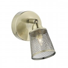 Lowell Single Wall Bracket Antique Brass Mesh Shade