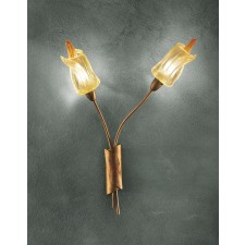 Amsterdam Wall Lamp - 2 Light, Copper Red, Amber Glass
