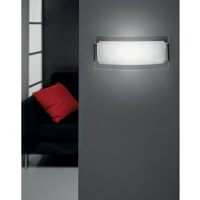 Belluno Wall Lamp - 1 Light, Satin Chrome, Sandblasted Glass