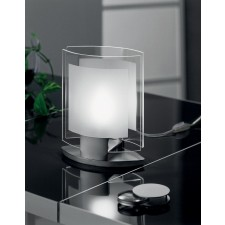 Belluno Table Lamp - 1 Light, Satin Chrome, Sandblasted Glass
