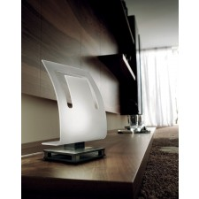 Rio Table Lamp - 1 Light, Polished Chrome, Satin Crystal Shade