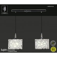 Lupin Pendant 2 Light Line Polished Chrome/White