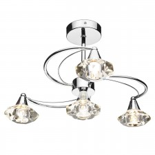 Luther 4 Light Semi Flush Ceiling Light - Polished Chrome