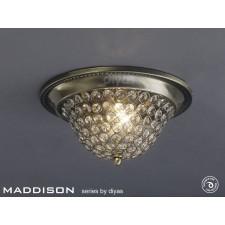 Diyas Paloma Ceiling 3 Light Large Antique Brass/Crystal